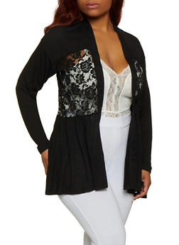 Plus Size Lace Detail Cardigan - 3912051067167