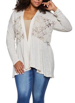 Plus Size Lace Detail Cardigan - 3912051067167