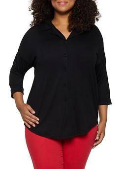 Plus Size Lace Back Yoke Shirt - 3912051067168