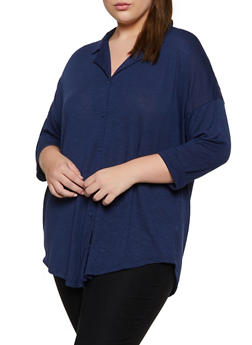 Plus Size Lace Back Yoke Shirt - 3912051067168