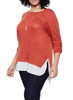 Plus Size Chiffon Trim Top with Necklace - 3912051067191