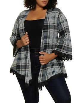 Plus Size Crochet Trim Plaid Kimono - 3912051067193