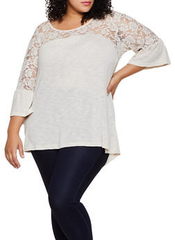 Plus Size Lace Detail Bell Sleeve Top - 3912051067195