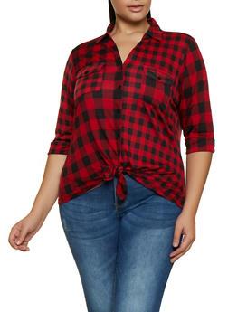 Plus Size Plaid Tie Front Shirt - 3912051067209