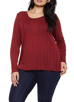 Plus Size Lettuce Edge Ribbed Top - 3912051067215