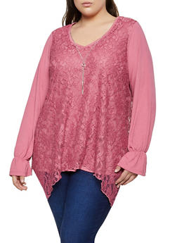 Plus Size Lace Sharkbite Top with Necklace - 3912051067260