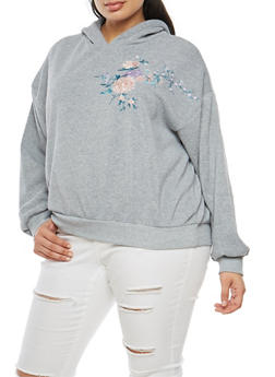 Plus Size Floral Embroidered Hoodie - 3912051069724