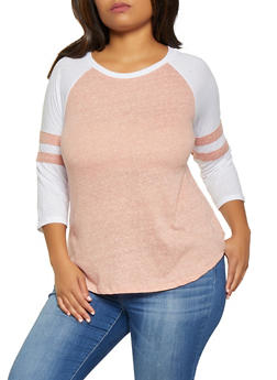 Plus Size Color Block Baseball Shirt - 3912054260081