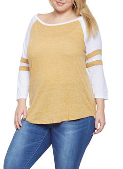 Plus Size Color Block Baseball Shirt - 3912054260081