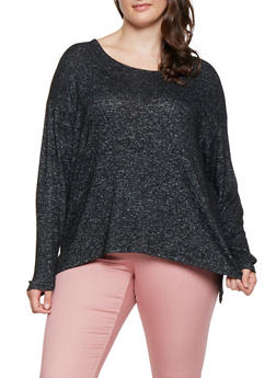 Plus Size Marled Long Sleeve Sweater - 3912054260547