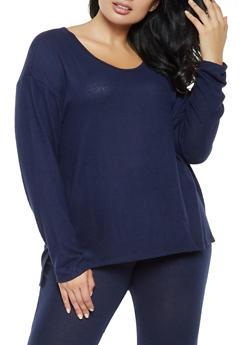 Plus Size Marled Long Sleeve Sweater - 3912054260547