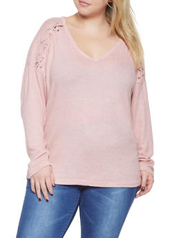 Plus Size Lace Up Detail Sweater - 3912054260548