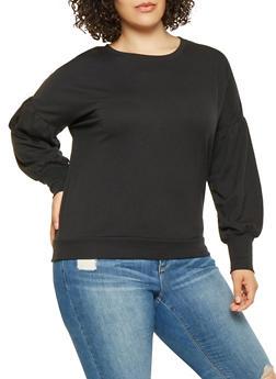 Plus Size Bubble Sleeve Sweatshirt - 3912054260597