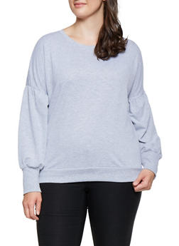 Plus Size Bubble Sleeve Sweatshirt - 3912054260597