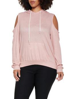 Plus Size Cold Shoulder Brushed Knit Top - 3912054260667