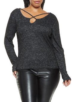 Plus Size Caged Soft Knit Sweater - 3912054260668