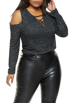 Plus Size Brushed Knit Cold Shoulder Sweater - 3912054260669