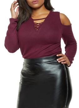 Plus Size Brushed Knit Cold Shoulder Sweater - 3912054260669