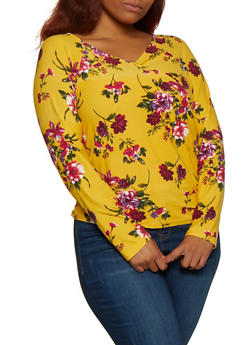 Plus Size Soft Knit Floral Faux Wrap Top - 3912054260672