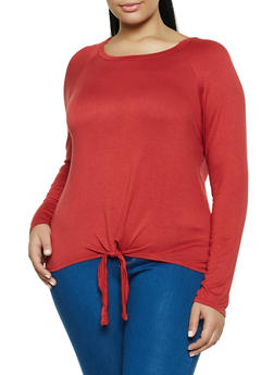 Plus Size Tie Front Long Sleeve Top - 3912054260673