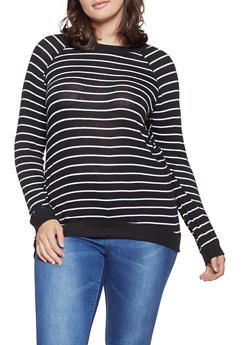 Plus Size Striped Brushed Knit Sweater - 3912054260683