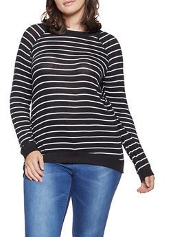 Plus Size Striped Brush Knit Sweater - 3912054260683