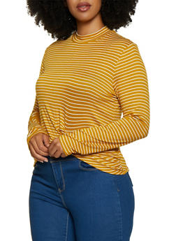 Plus Size Striped Twist Front Top - 3912054260696