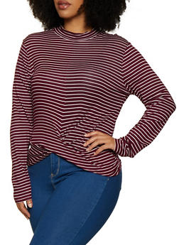 Plus Size Striped Twist Front Top - 3912054260696