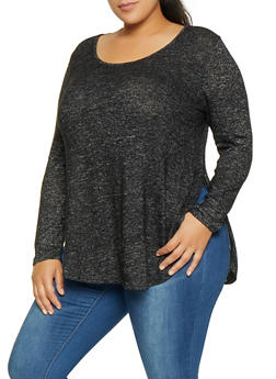 Plus Size Brushed Knit Sweater - 3912054260701