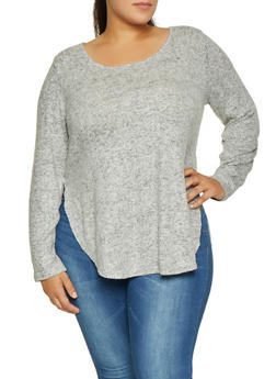 Plus Size Brush Knit Sweater - 3912054260701