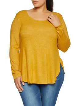 Plus Size Brushed Knit Sweater - 3912054260701