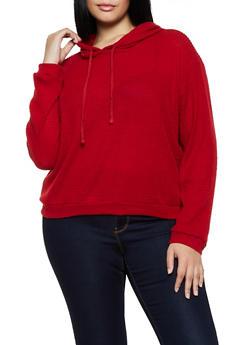Plus Size Hooded Waffle Knit Sweatshirt - 3912054261237