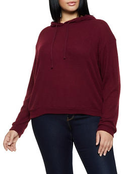 Plus Size Hooded Waffle Knit Sweatshirt - 3912054261237