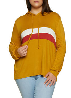 Plus Size Color Block Detail Hooded Top - 3912054261238
