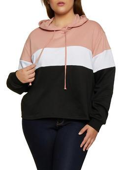 Plus Size Pullover Color Block Sweatshirt - 3912054261266