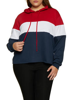 Plus Size Pullover Color Block Sweatshirt - 3912054261266