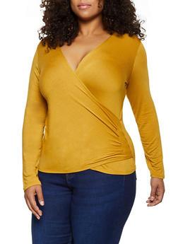Plus Size Long Sleeve Faux Wrap Top - 3912054261282