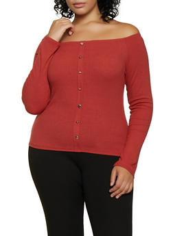 Plus Size Off the Shoulder Ribbed Knit Top - 3912054261283