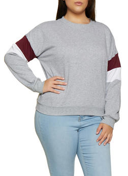Plus Size Striped Detail Crew Neck Sweatshirt - 3912054261290