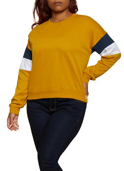 Plus Size Striped Detail Crew Neck Sweatshirt - 3912054261290