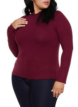 Plus Size Ribbed Lettuce Edge Top - 3912054261314