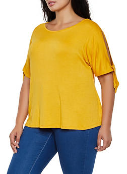 Plus Size Split Tie Sleeve Top - 3912054261321