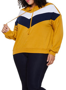 Plus Size Chevron Color Block Hooded Sweatshirt - 3912054261338