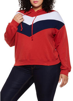 Plus Size Chevron Color Block Hooded Sweatshirt - 3912054261338