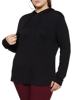 Plus Size Hooded Long Sleeve Top | 3912054261374 - 3912054261374