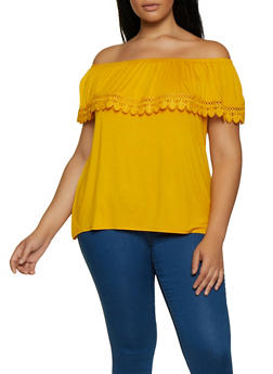 Plus Size Off the Shoulder Crochet Trim Top | 3912054261486 - 3912054261486