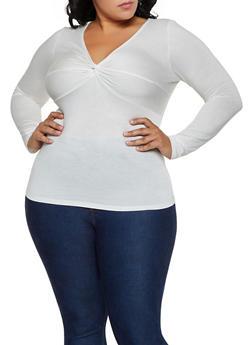 Plus Size Twist Front Long Sleeve Top - 3912054261505