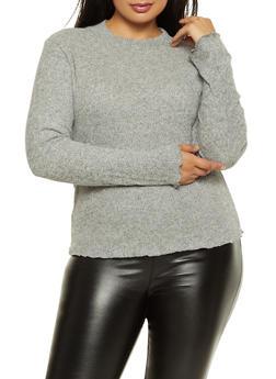 Plus Size Soft Rib Knit Top - 3912054261667