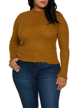 Plus Size Soft Rib Knit Top - 3912054261667