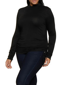 Plus Size Mock Neck Drawstring Side Tee - 3912054261709